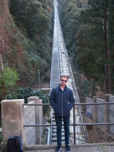 Scott in front of that funicular.